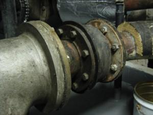 Asbestos gasket used between pipe flanges
